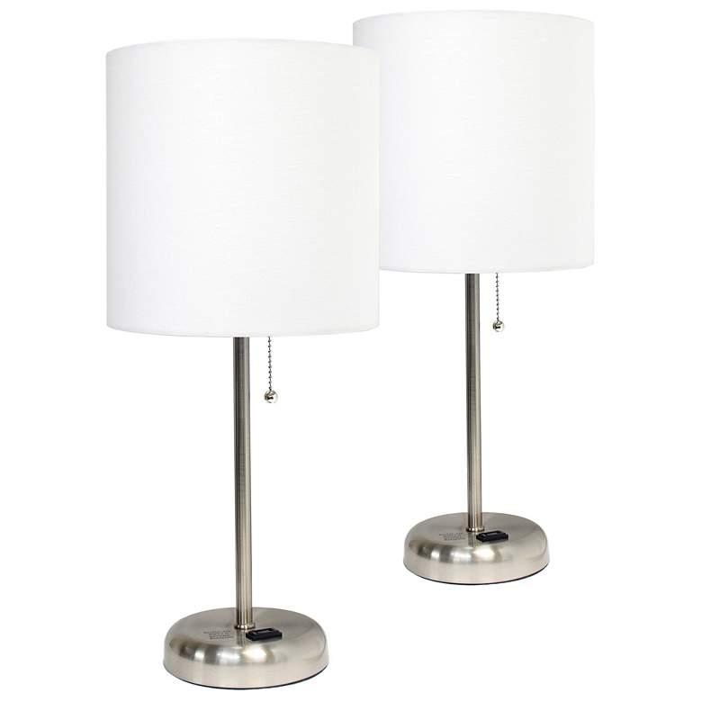 "LimeLights 19 1/2""H Steel White Accent Table Lamps"