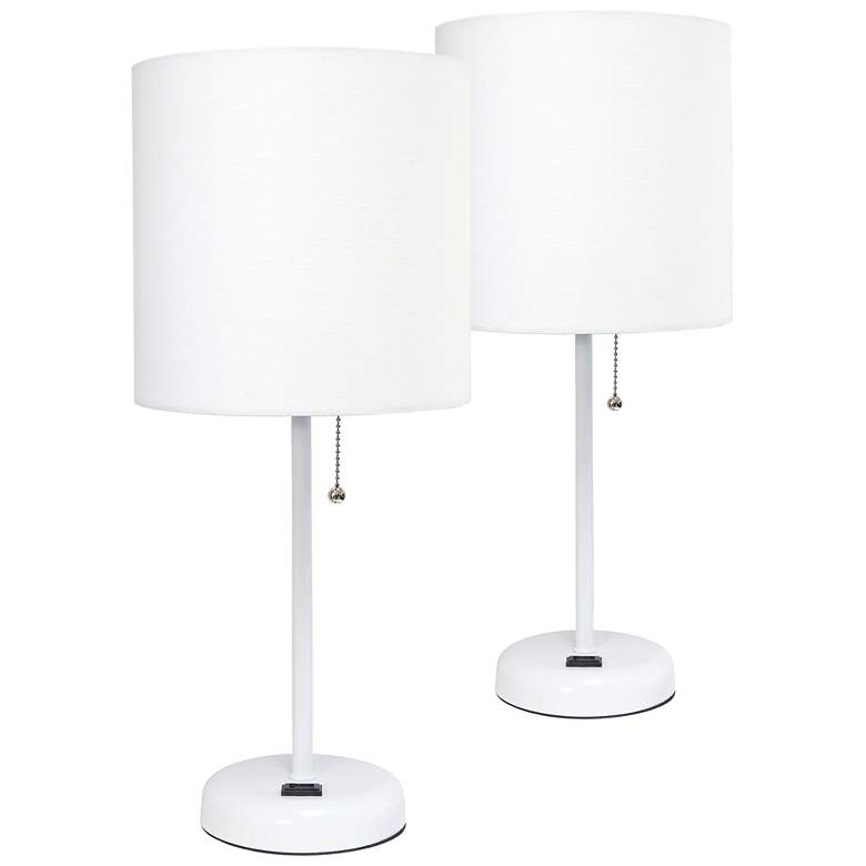 LimeLights Power Outlet Modern White Table Lamps Set of 2