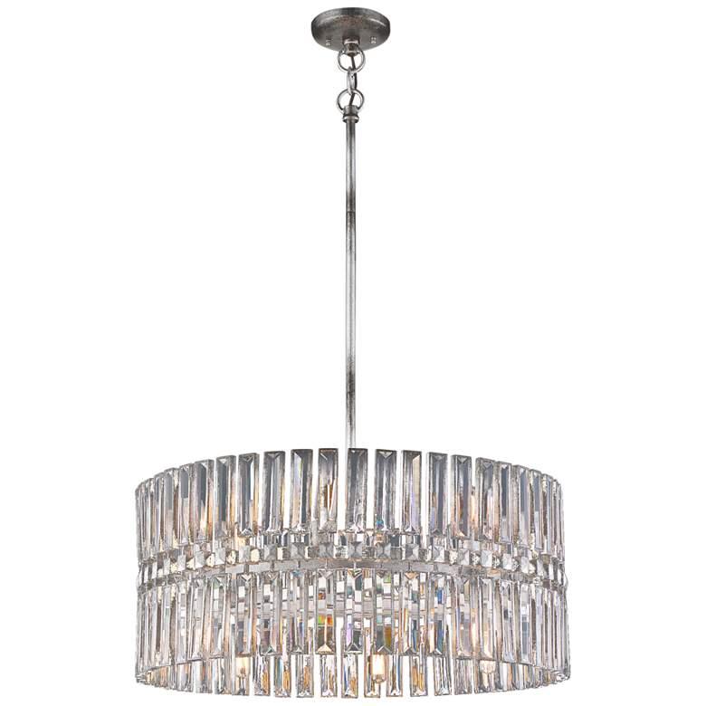 "Belle Aurore 26 1/4""W Silver Leaf Crystal Drum Pendant Light"