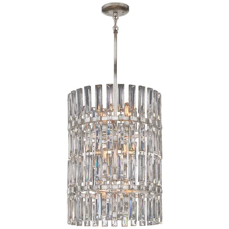 "Belle Aurore 17""W Silver Leaf Crystal Foyer Pendant Light"