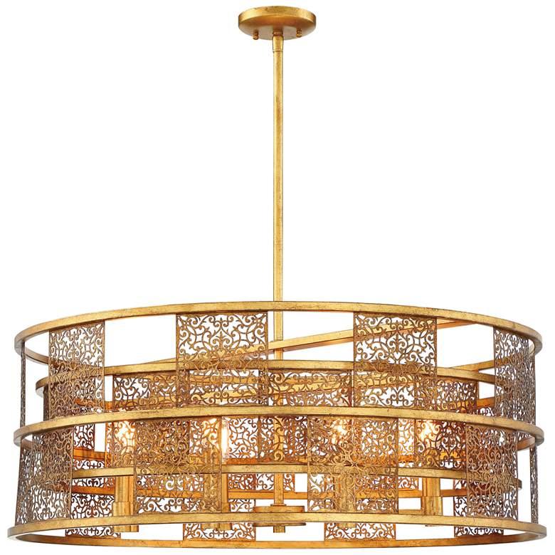 "Metropolitan Brynhurst 32""W Autumn Gold Leaf Pendant Light"