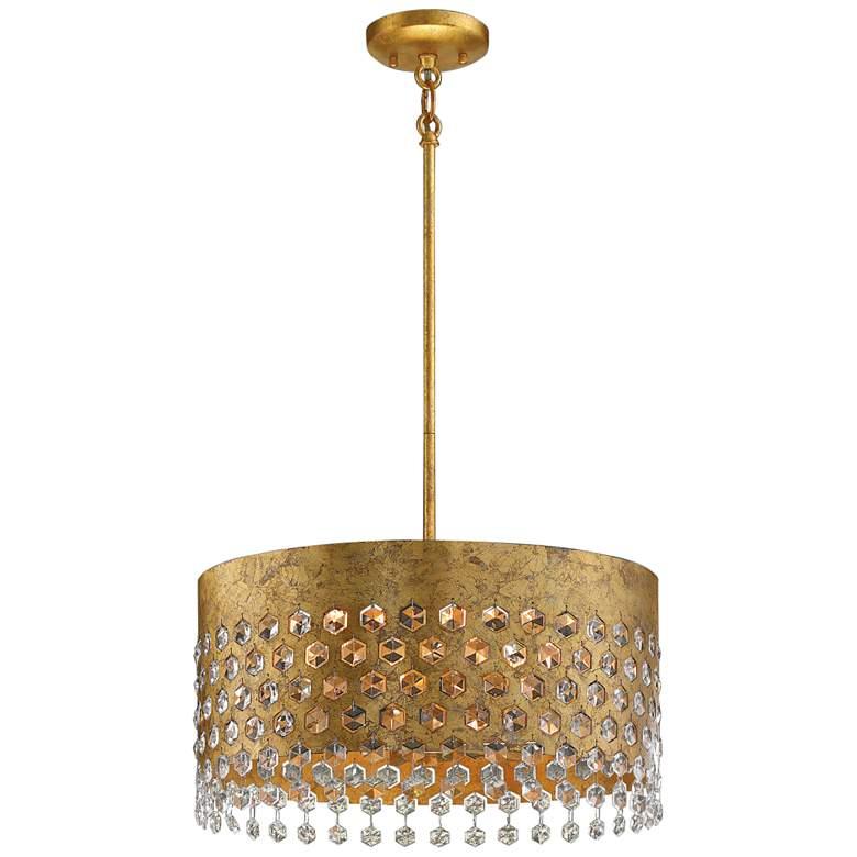 """Kingsmont 18 1/4"""" Wide Glitz Gold Leaf Pendant Light"""