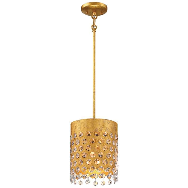 "Kingsmont 8 3/4""W Glitz Gold Leaf Foyer Mini Pendant Light"