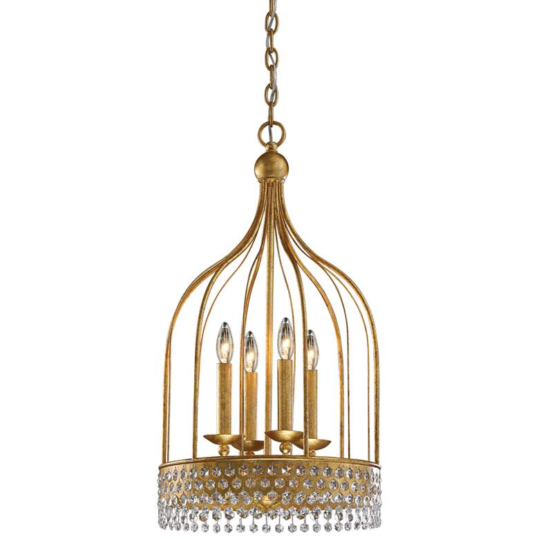 "Kingsmont 14 1/2"" Wide Glitz Gold Leaf 4-Light Foyer Pendant"