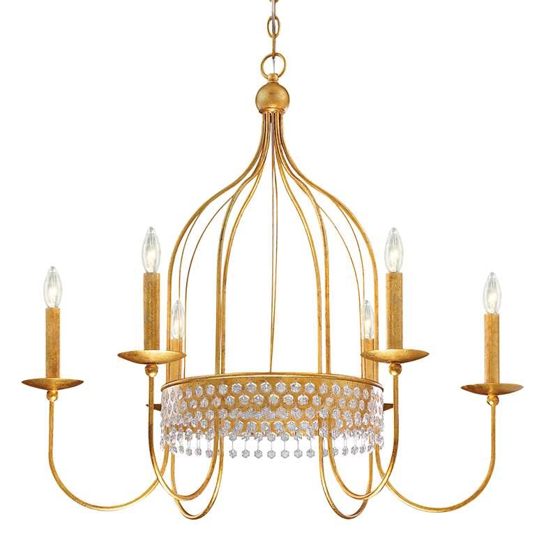 """Kingsmont 32"""" Wide Glitz Gold Leaf Cage 6-Light Chandelier"""