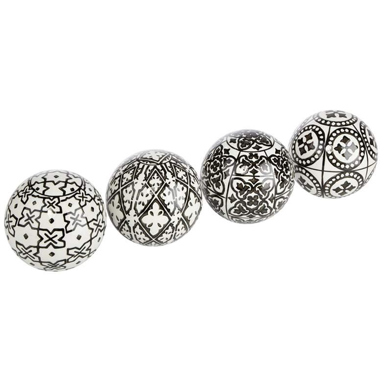 Gertrude Black and White Ceramic Decorative Balls Set of 4