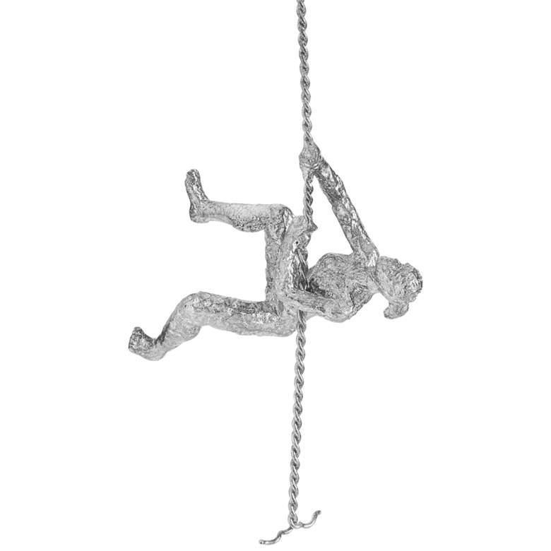 """Climbing Woman 42""""H Thai Silver Leaf Metal Wall Sculpture"""