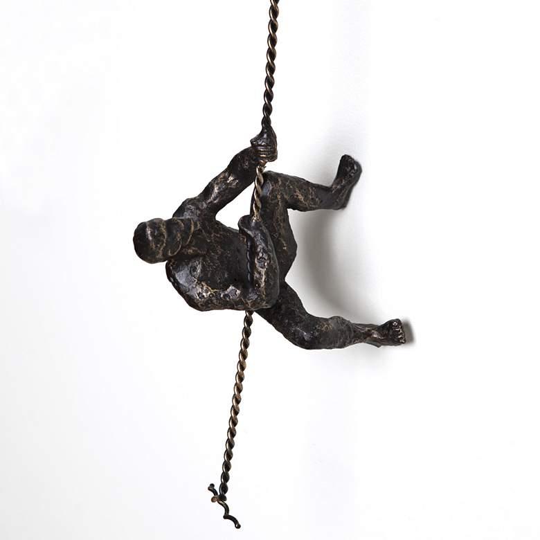 """Climbing Man 42"""" High Bronze Metal Wall Sculpture"""