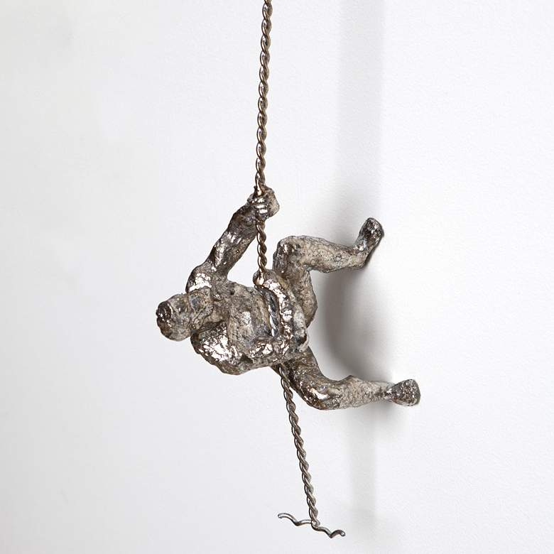 """Climbing Man 42"""" High Thai Silver Leaf Metal"""