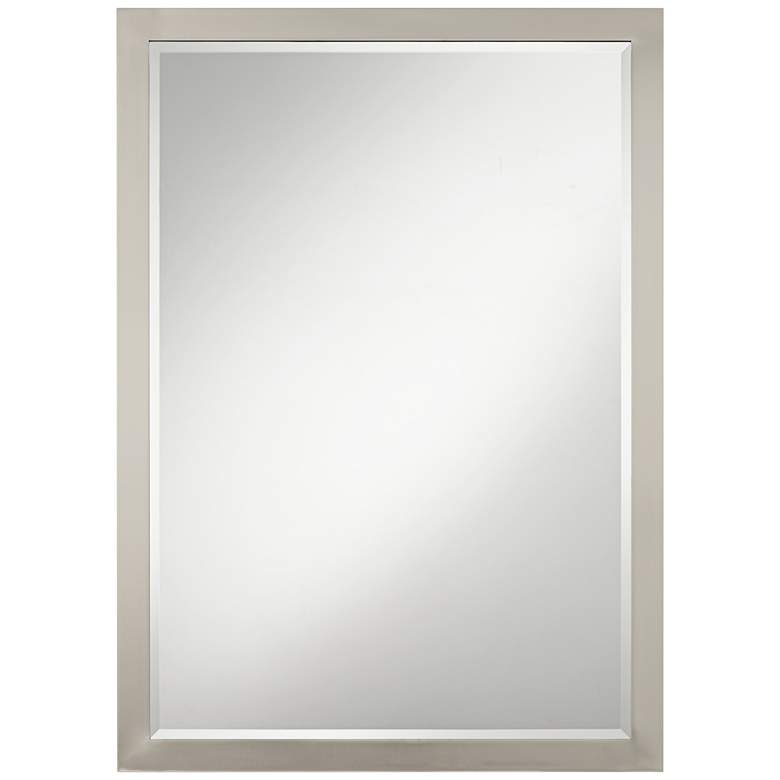 """Possini Euro Metzeo 26"""" x 36"""" Brushed Nickel Mirror"""