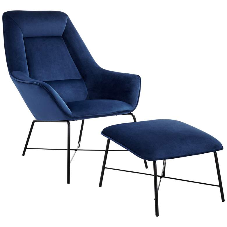 Hemingway Blue Velvet Lounge Chair with Ottoman
