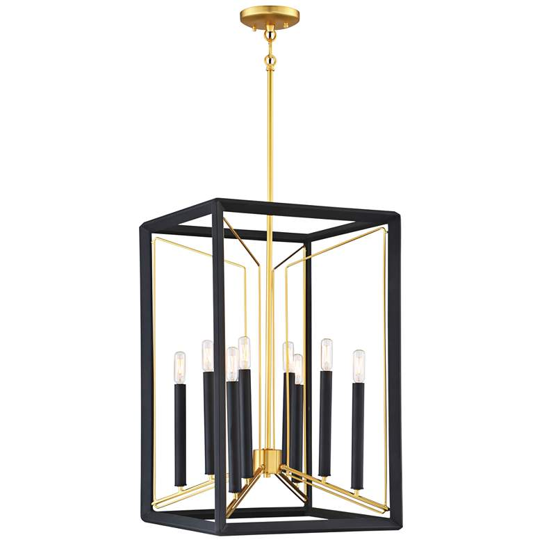 """Sable Point 16 1/4""""W Black and Gold 8-Light Foyer Pendant"""
