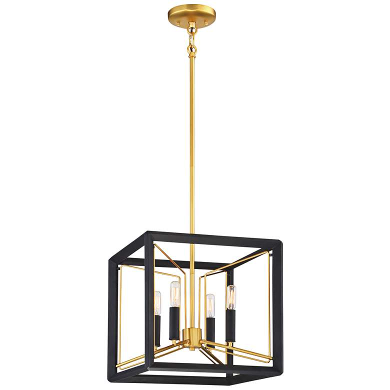 """Sable Point 14 1/4""""W Black and Gold 4-Light Foyer Pendant"""