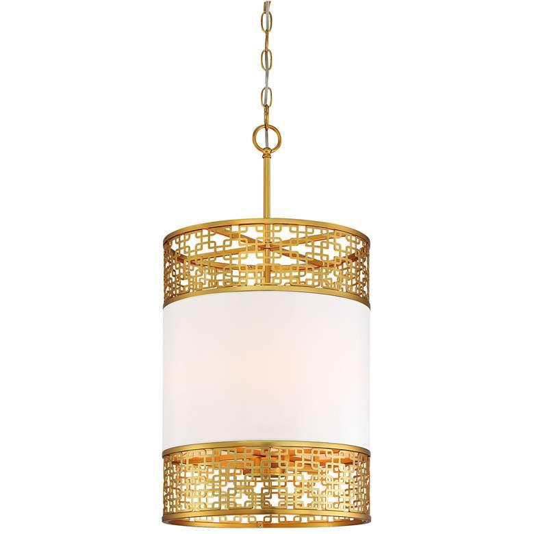 "Blairmoor 14""W Honey Gold and Faux Silk Foyer Pendant Light"