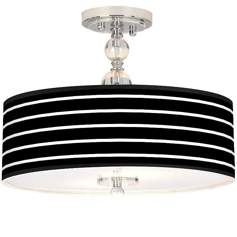 "Bold Black Stripe Giclee 16"" Wide Semi-Flush Ceiling"