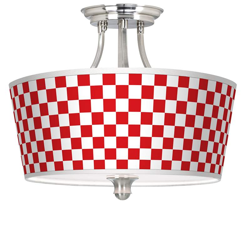 Checkered Red Tapered Drum Giclee Ceiling Light