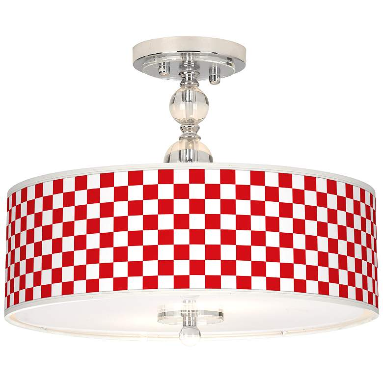 """Checkered Red Giclee 16"""" Wide Semi-Flush Ceiling Light"""