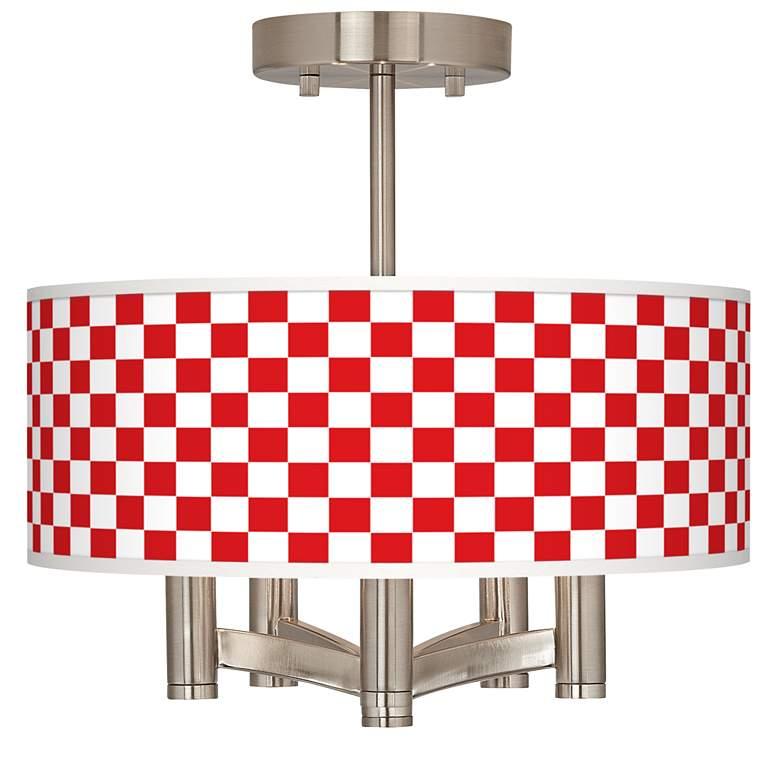 Checkered Red Ava 5-Light Nickel Ceiling Light