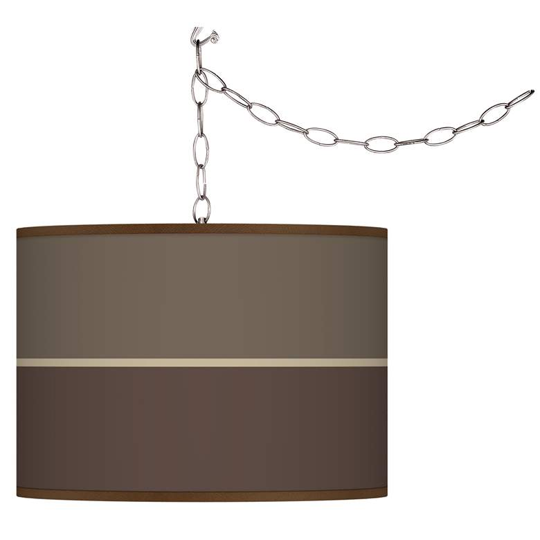 Swag Style Lakebed Set Giclee Shade Plug-In Chandelier