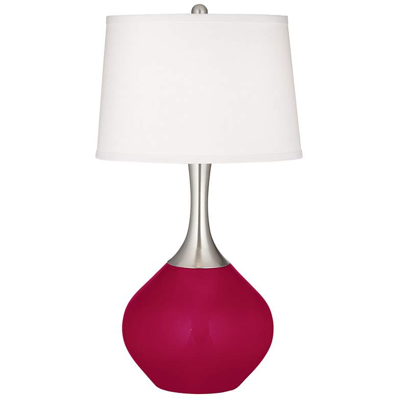 French Burgundy Spencer Table Lamp with Dimmer