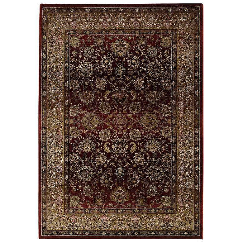 "Taline Collection 53""x7'6"" Gold and Red Area Rug"