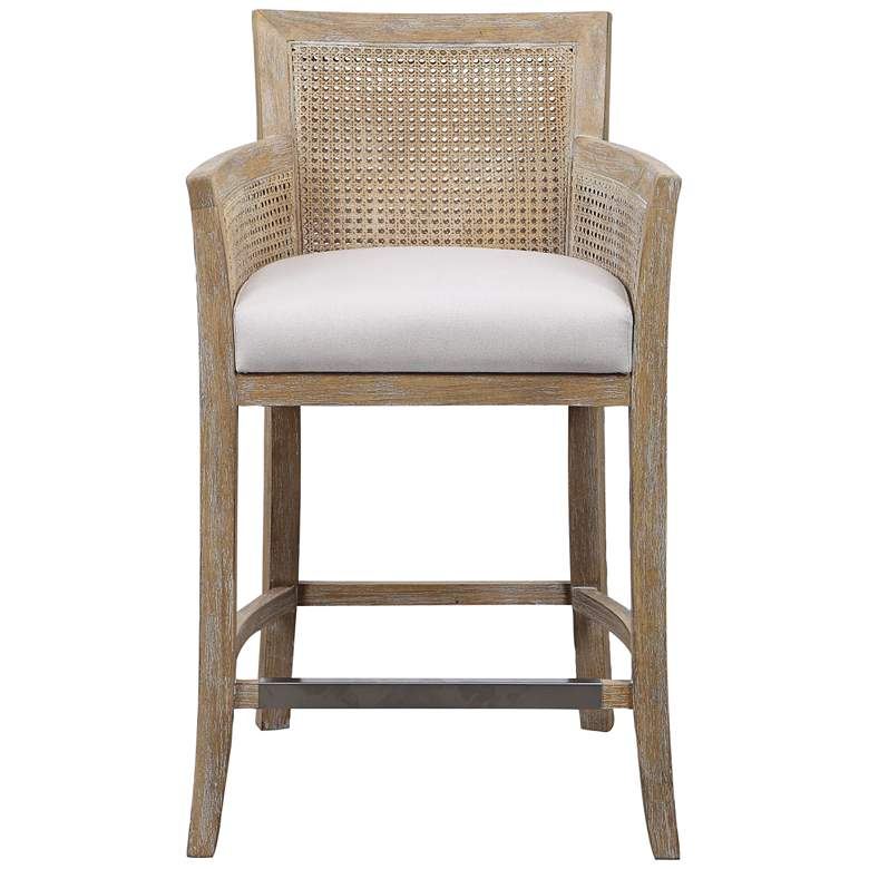 """Uttermost Encore 26"""" Natural Wood and Rattan Counter Stool"""