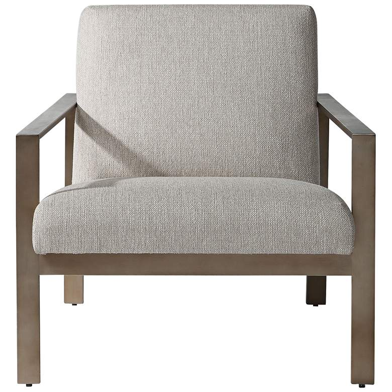 Uttermost Wills Warm Gray Oatmeal Woven Fabric Accent Chair