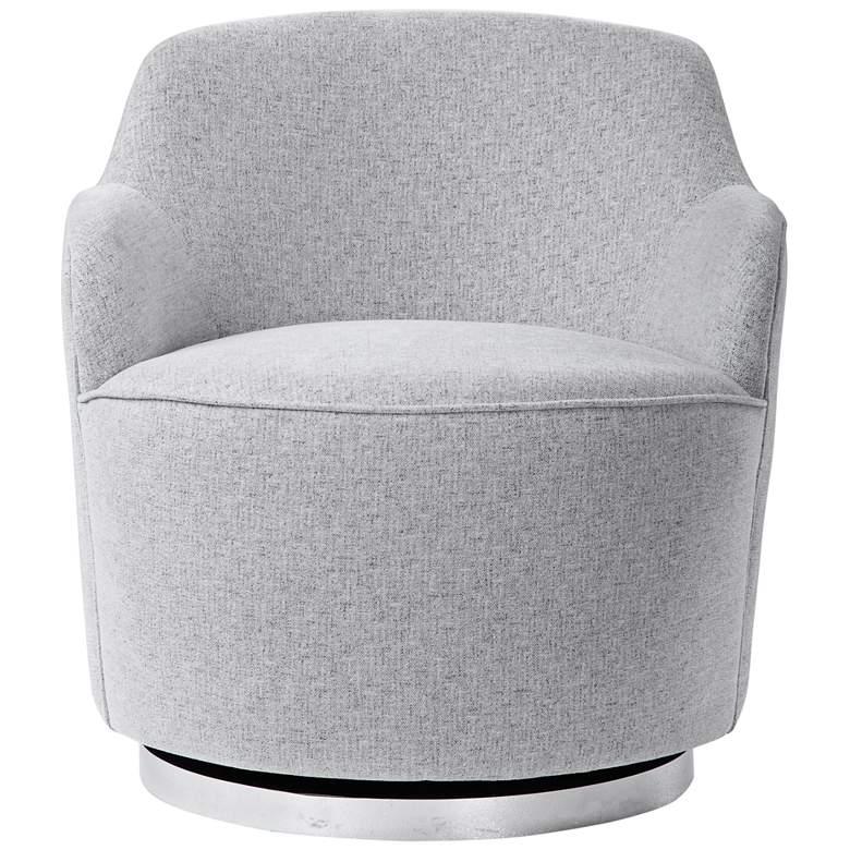 Uttermost Hobart Pale Gray Woven Linen Blend Swivel Chair
