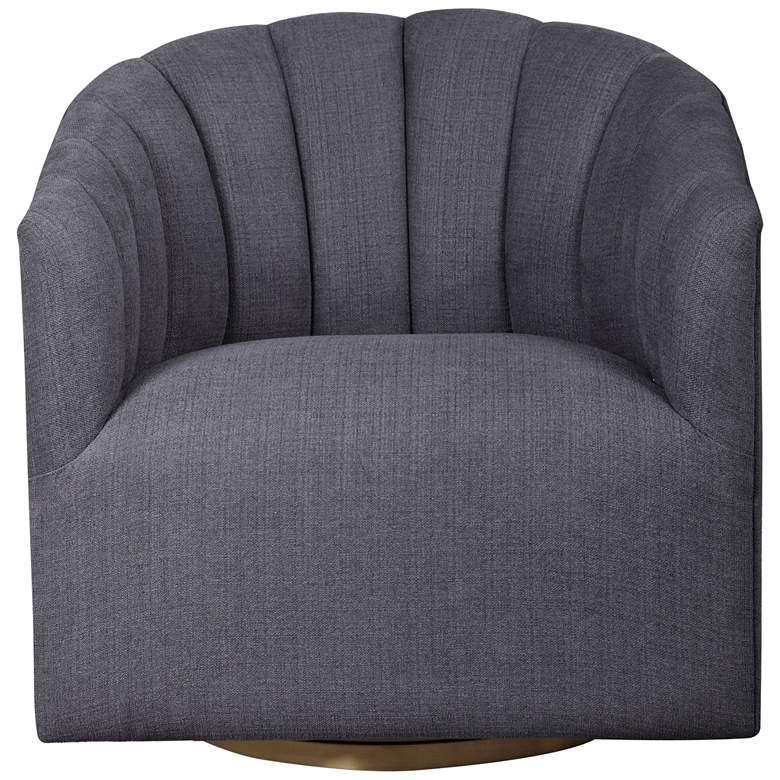 Uttermost Cuthbert Light Charcoal Gray Tufted Swivel Chair