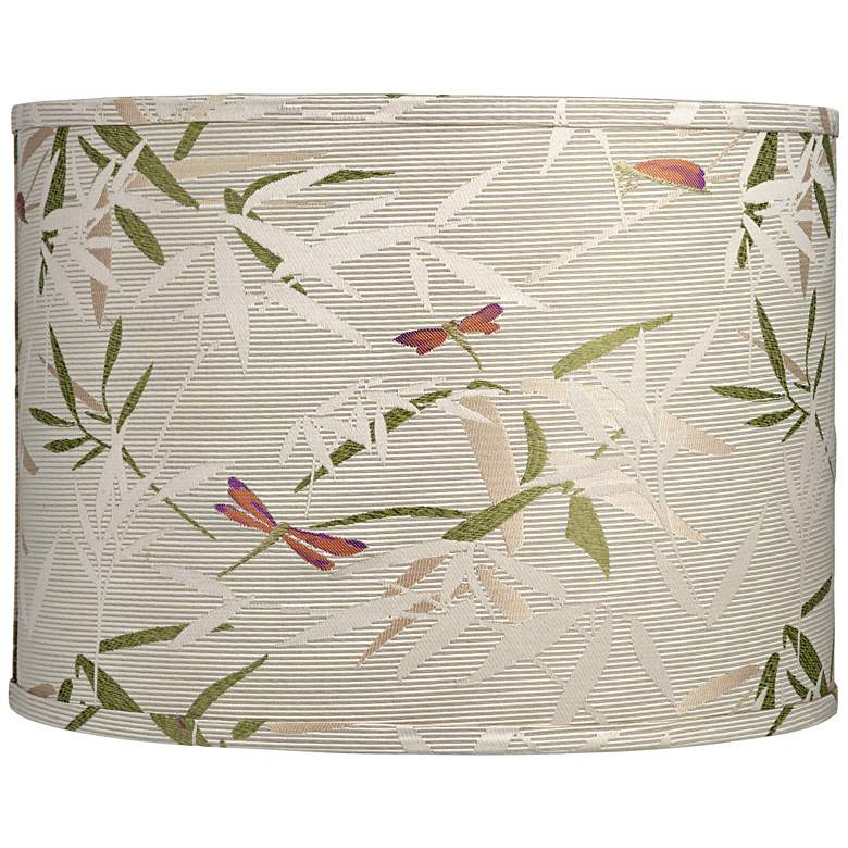 Golden Bamboo Leaves Drum Lamp Shade 15x15x11 (Spider)