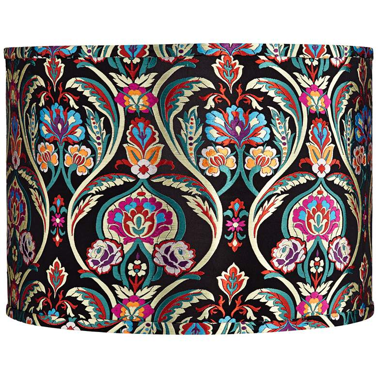 Multi-Color Embroidered Drum Lamp Shade 15x15x11 (Spider)