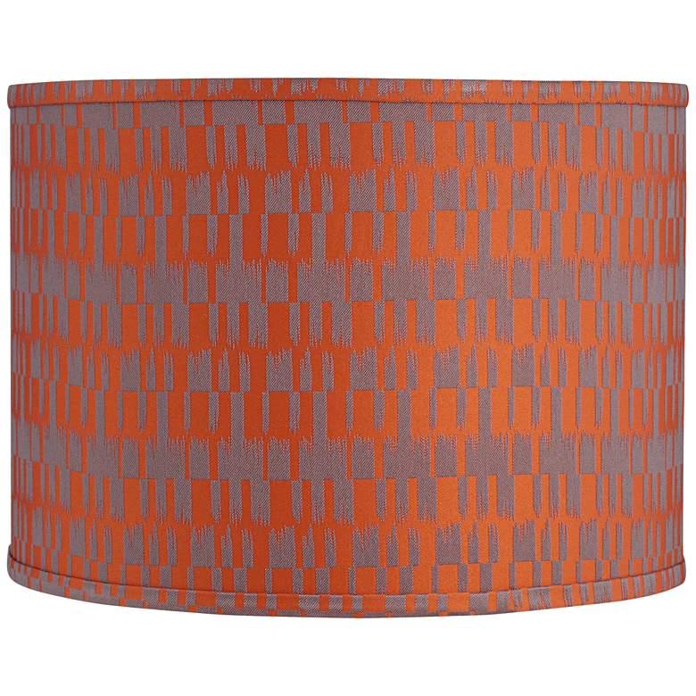Orange and Taupe Drum Lamp Shade 15x15x11 (Spider)