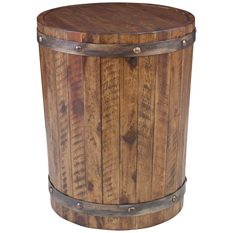 "Uttermost Ceylon 19""W Weathered Walnut Barrel Accent Table"