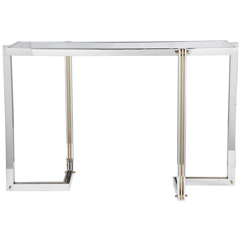 """Uttermost Locke 50 3/4"""" Wide Polished Nickel Console Table"""