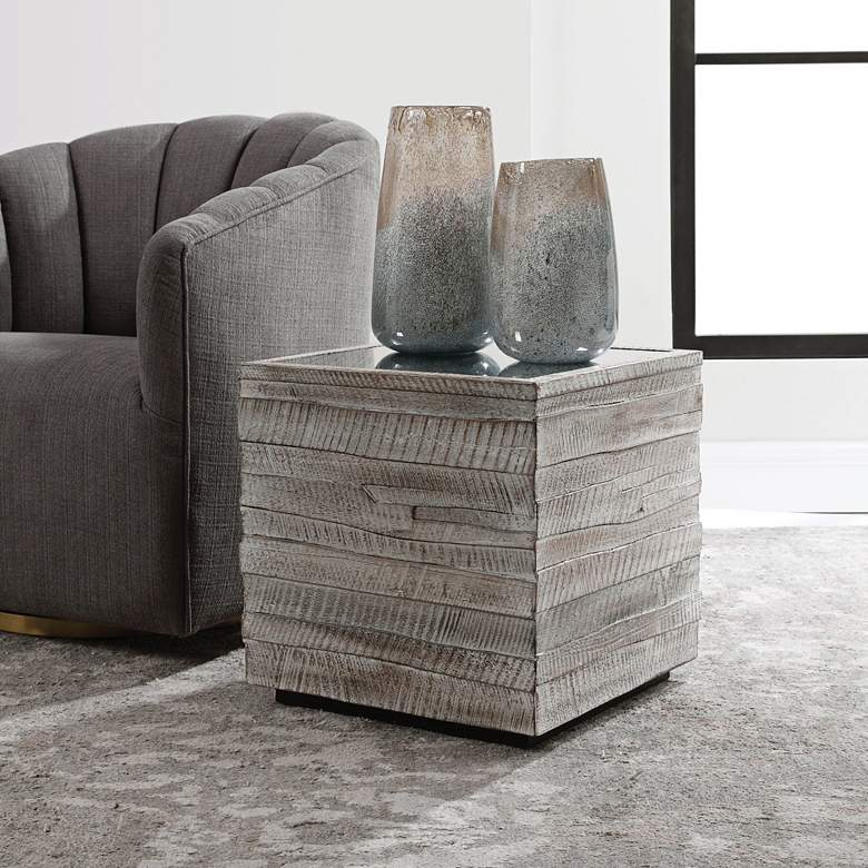 "Uttermost Messinia 18"" Wide White Washed Cube Side Table"