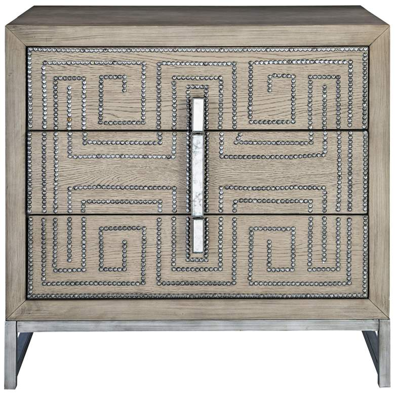 "Uttermost Devya 32"" Wide Mushroom Gray 3-Drawer Accent Chest"