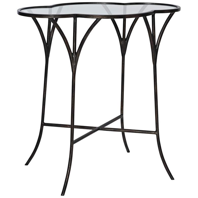 "Uttermost Adhira 24""W Aged Black and Glass Top Accent Table"