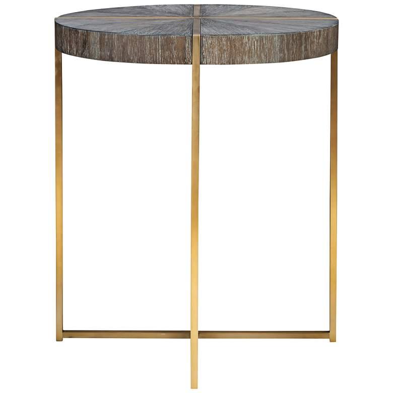 """Uttermost Taja 20"""" Wide Dark Walnut and Brass Accent Table"""
