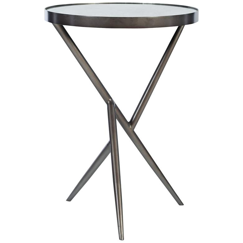 """Uttermost Absalom 18""""W Gunmetal Accent Table with Mirror Top"""