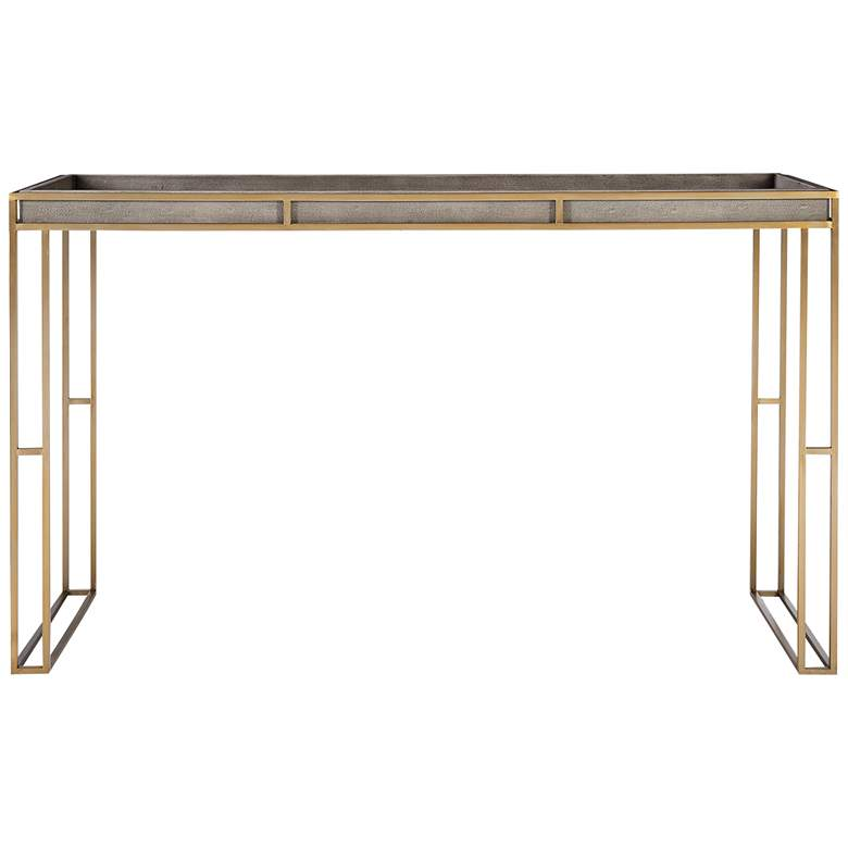 """Uttermost Cardew 54""""W Charcoal Gray and Brass Console Table"""