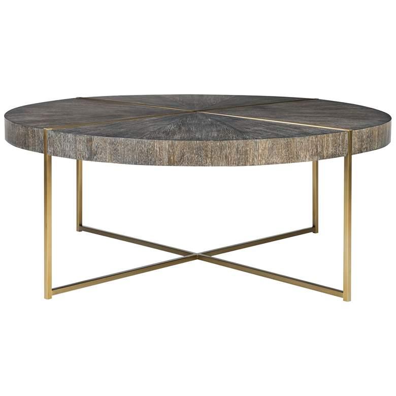 """Uttermost Taja 42""""W Washed Dark Walnut Round Coffee Table"""