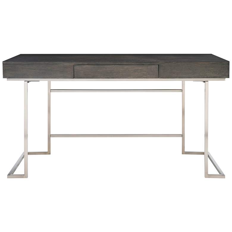 "Uttermost Claude 56"" Wide Smoke Gray Wood 1-Drawer Desk"