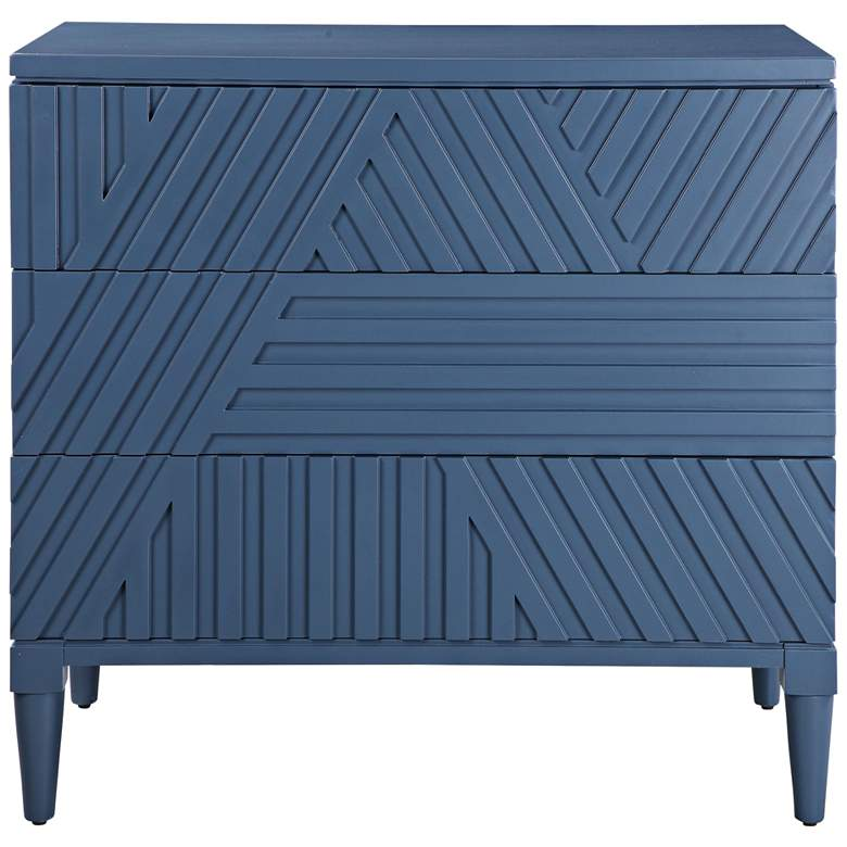 "Uttermost Colby 36"" Wide Blue Carved 3-Drawer Accent Chest"