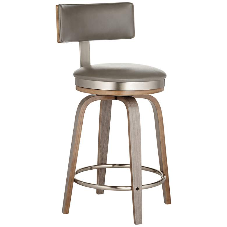 "Tilden 26"" High Gray Leather Counter Stool"