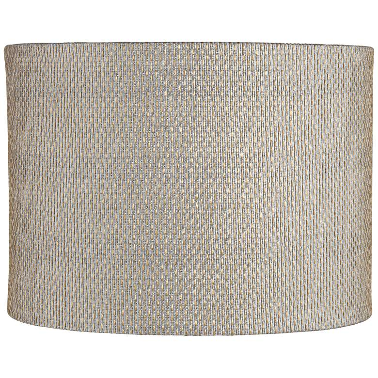 Gray and Gold Plastic Weave Drum Shade 15x15x11 (Spider)