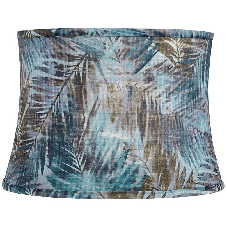 Blue Velvet Palm Leaf Drum Lamp Shade 14x16x11.5