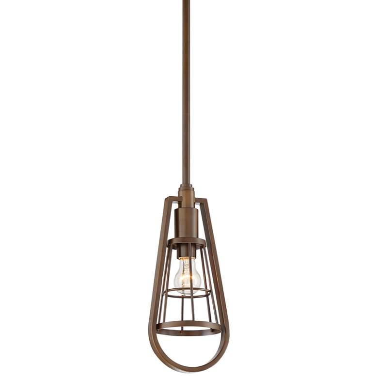 """Kava 6 1/2"""" Wide Oil-Rubbed Bronze Caged Mini Pendant Light"""