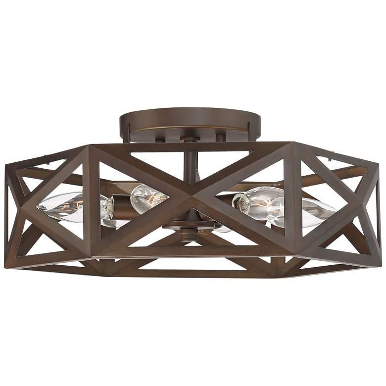 "Possini Euro Willia 14 1/2""W Geometric Bronze Ceiling Light"