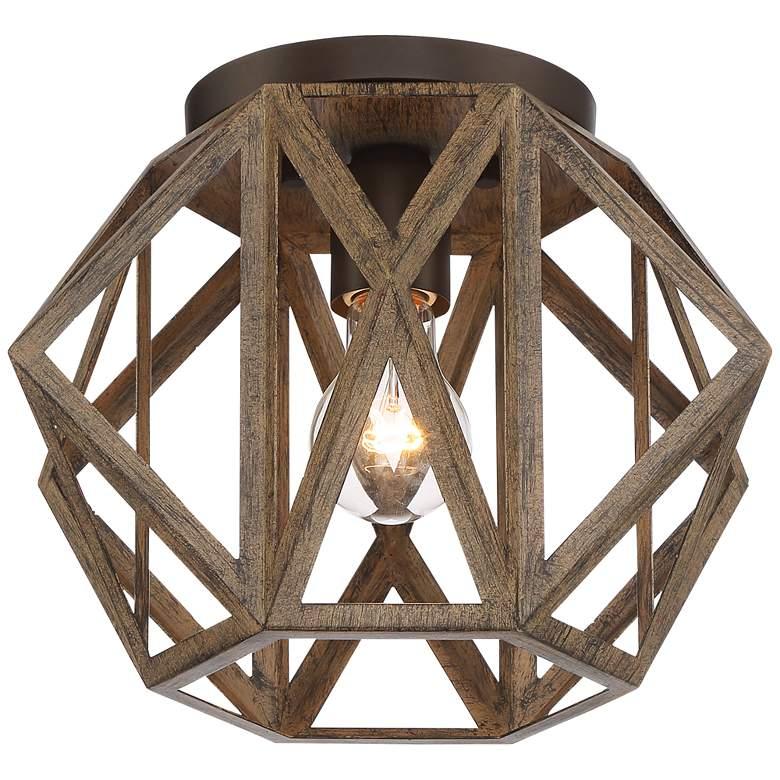 """Possini Euro Moorcroft 12 1/4"""" Wide Wood Ceiling Light"""