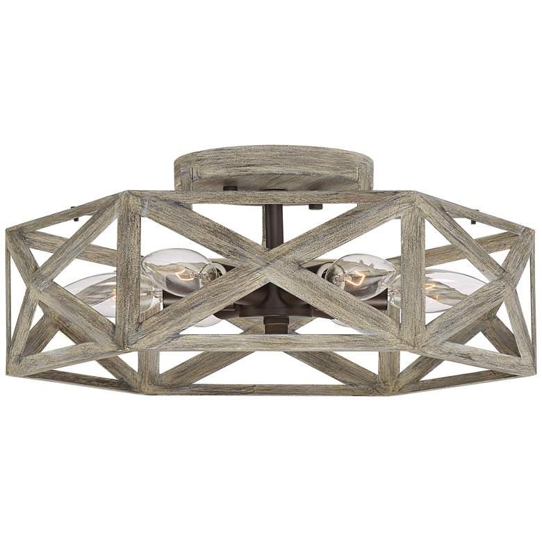 """Possini Euro Moorcroft 14 1/2""""W Light Wood Ceiling Light"""